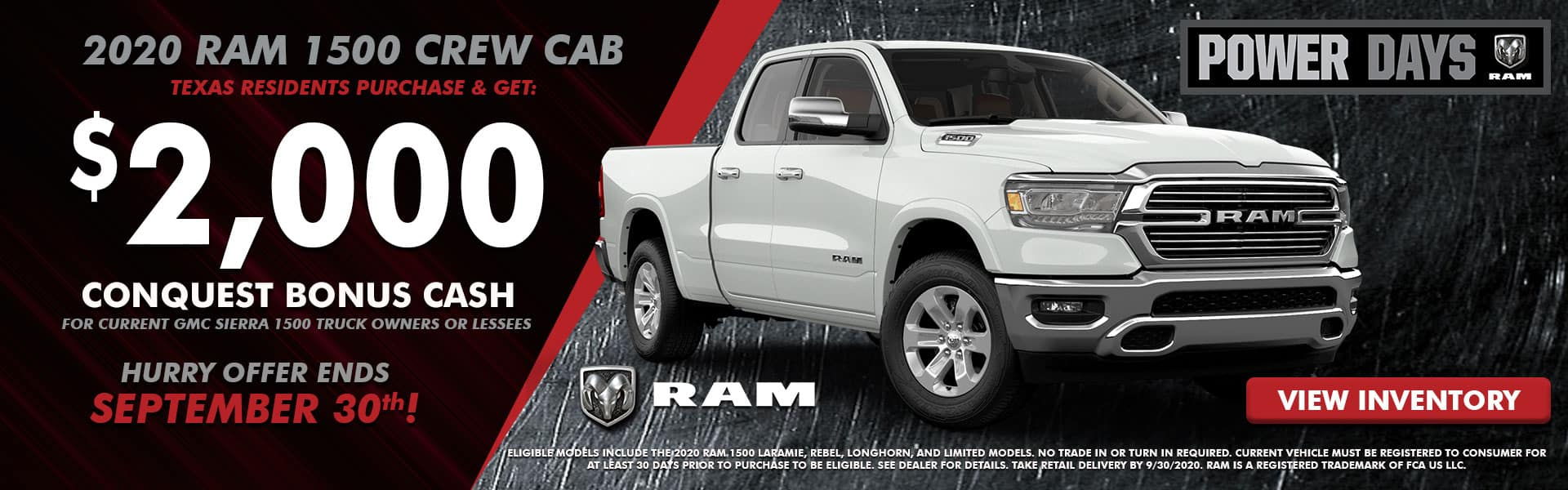 NMFOD Graphic – Web Banner (1920×600) – September National Offers – RAM 1500 Crew Cab 1 – 09.2020