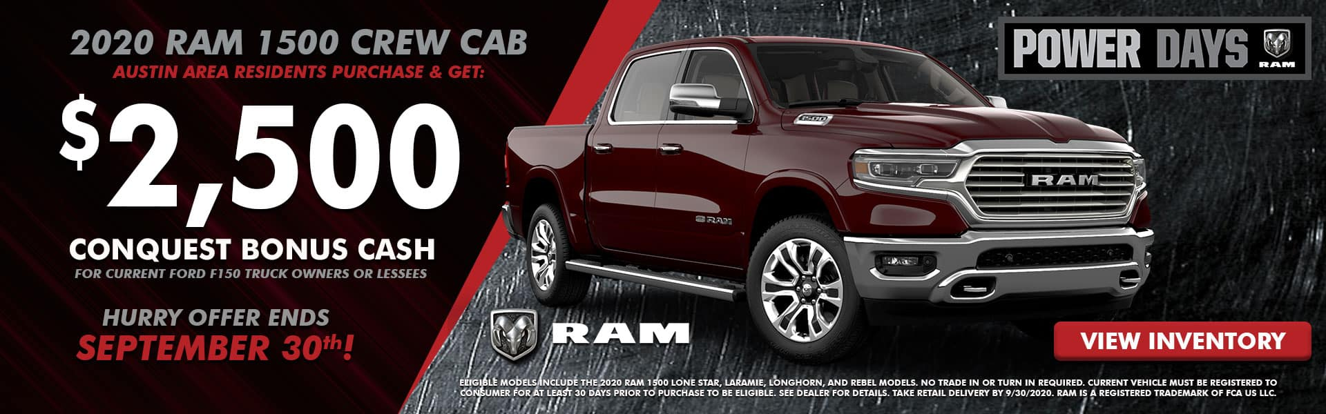 NMFOD Graphic – Web Banner (1920×600) – September National Offers – RAM 1500 Crew Cab 2 – 09.2020