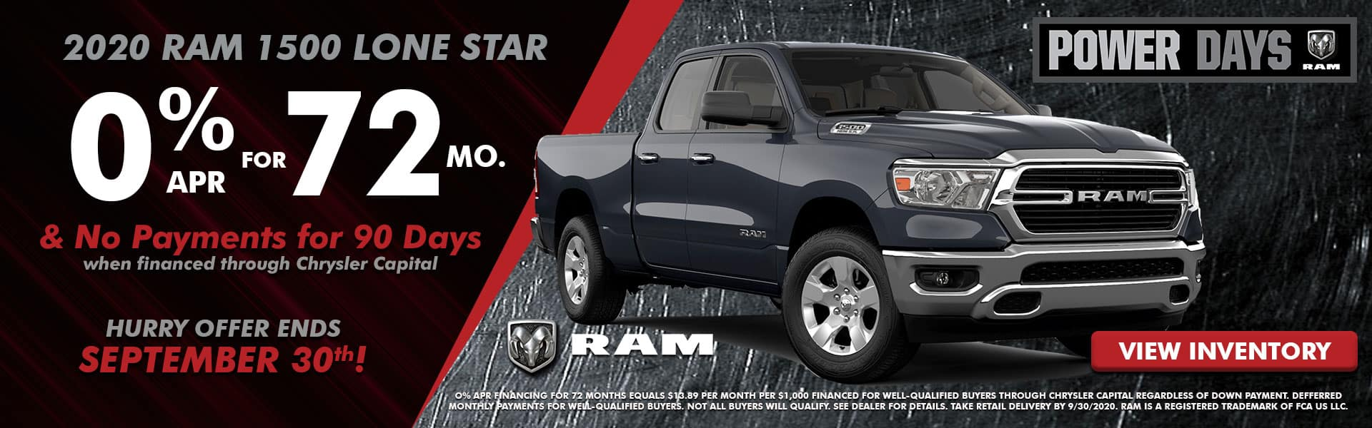 NMFOD Graphic – Web Banner (1920×600) – September National Offers – RAM 1500 Lone Star – 09.2020