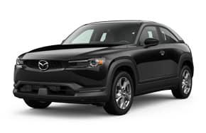 2022 Mazda MX-30 in the color Jet Black Mica.