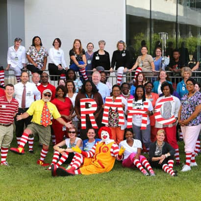 Red Sock Day for Ronald McDonald House at USA Children's & Women's Hopsital