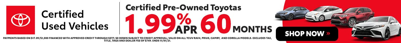 Certified Pre-Owned Toyotas 1.99% APR 60 Months in Mobile, LA