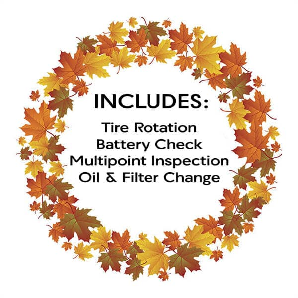 Includes: oil and filter change, tire rotation, battery check and multipoint inspection.