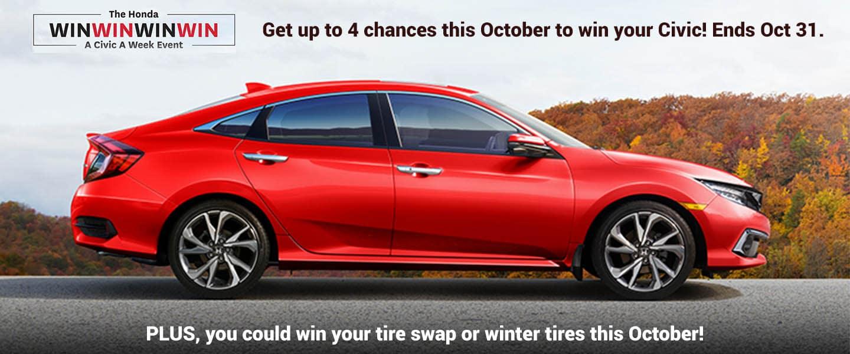 Pickering Honda October WIn Win Win a civic this week!