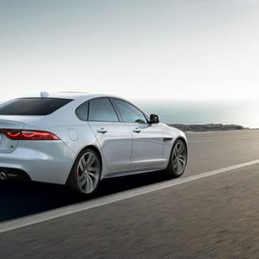 2019 jaguar xf luxury sedan side rear view