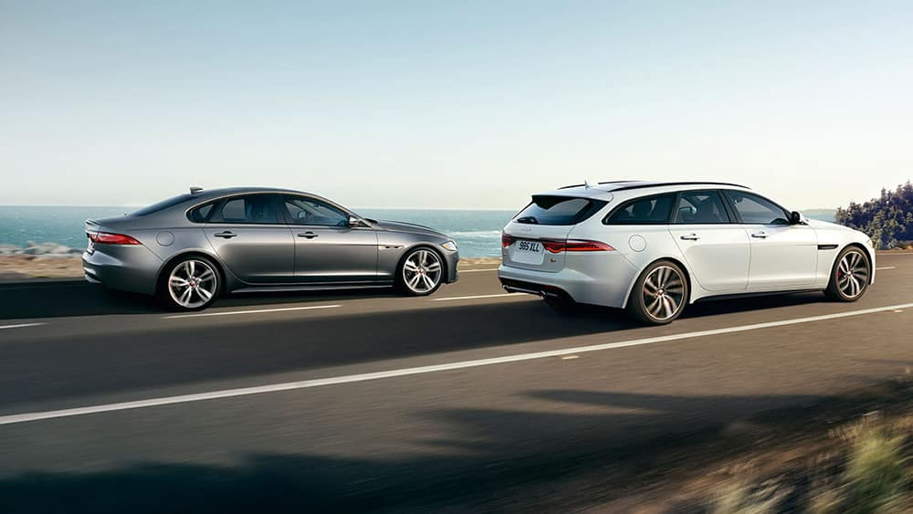 2019 jaguar xf sportbrake and jaguar xf sedan side view