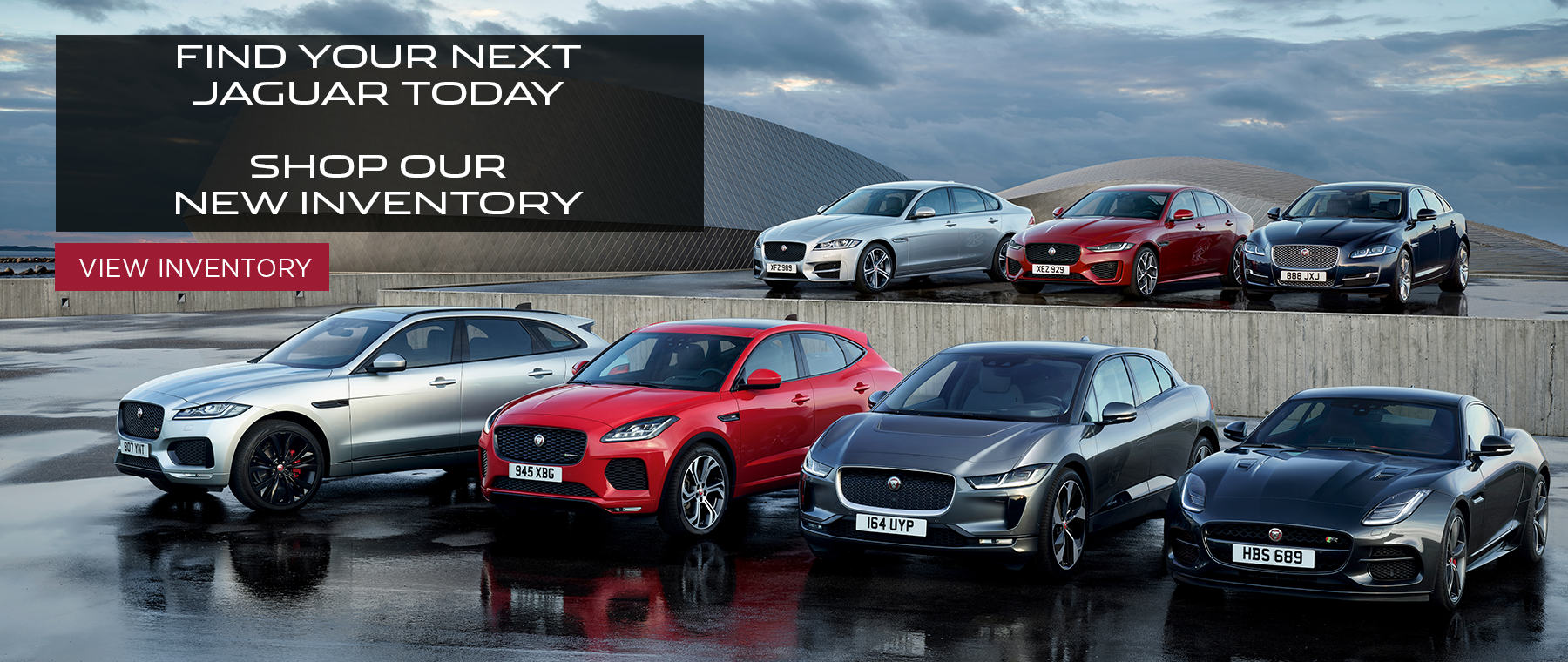 Find your next jaguar today shop our new inventory. Click to view inventory. Jaguar model line up on wet pavement