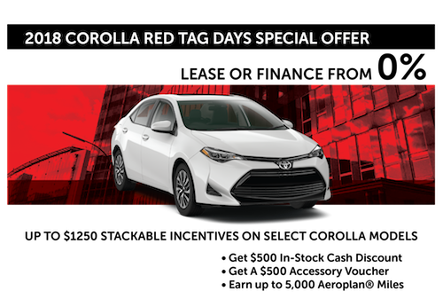 2018 Corolla Red Tag Days Special Offer