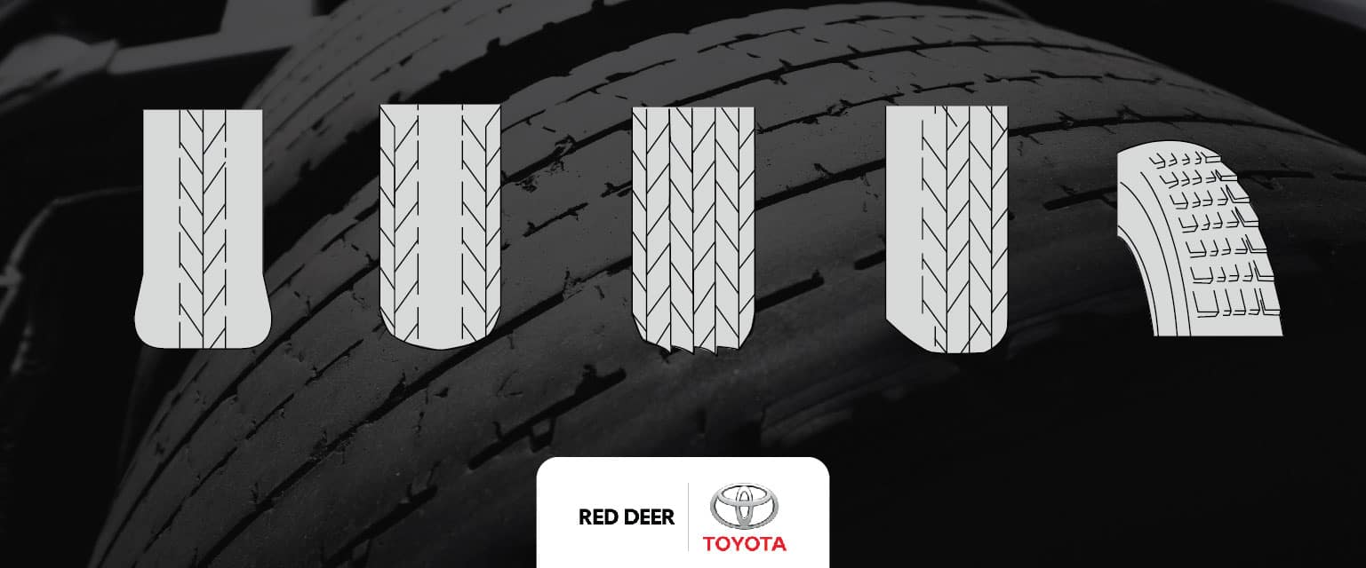 Tire Wear Image with illustrtions of differnt types ontop