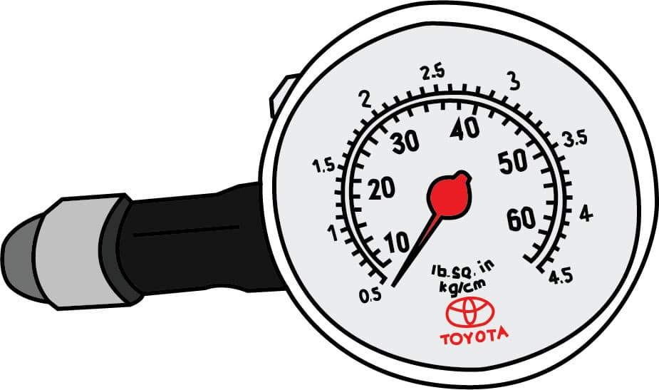 a hand illustrated drawing of a Toyota pressure gauge.