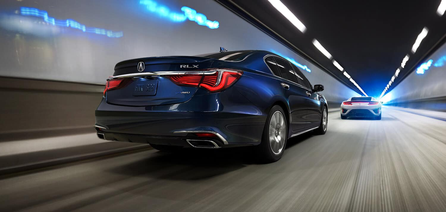 2019 Acura RLX Exterior Rear Angle Passenger Side Blue