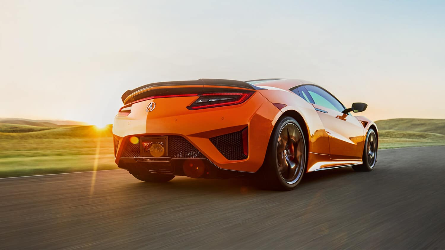 2019 Acura NSX Exterior Rear Angle Passenger Side Sunset