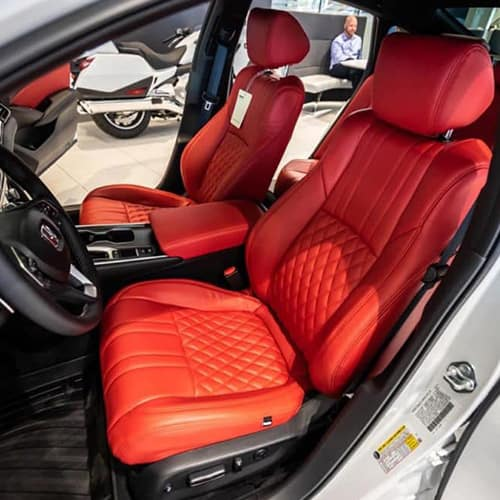 red custom leather seat