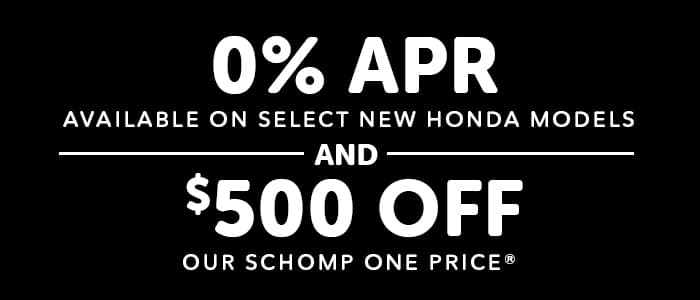 Receive 0% APR and a $500 Credit on Select New Honda Models