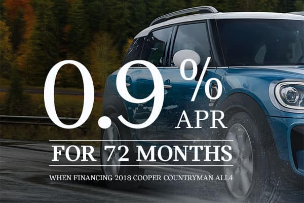 GET 0.9% FOR 72 MONTHS ON NEW 2018 MINI COUNTRYMAN
