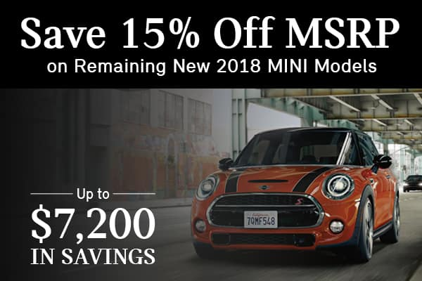 Save 15% Off MSRP on Remaining New 2018 MINI Models