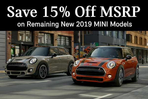 Save 15% Off MSRP on New 2019 MINIs