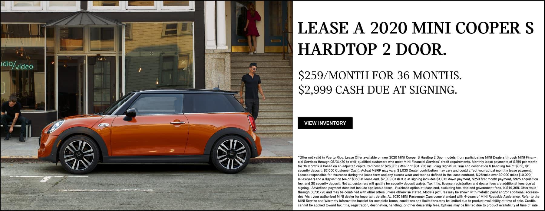 Lease a 2020 MINI Cooper S Hardtop 2 Door for $259/mo