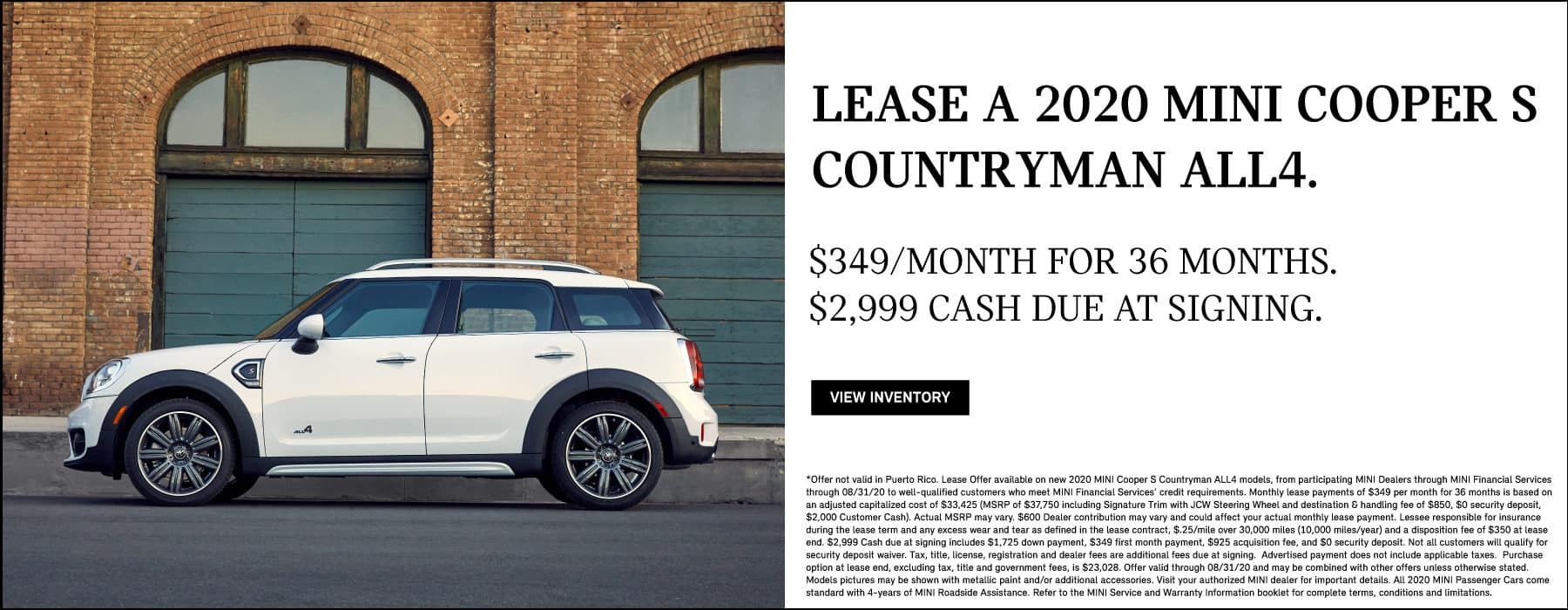 MINI Cooper S Countryman ALL4 lease for $349/mo