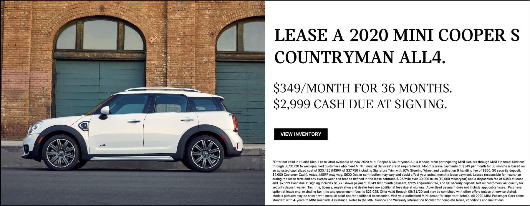 MINI Cooper S Countryman ALL4 lease for $349/mo