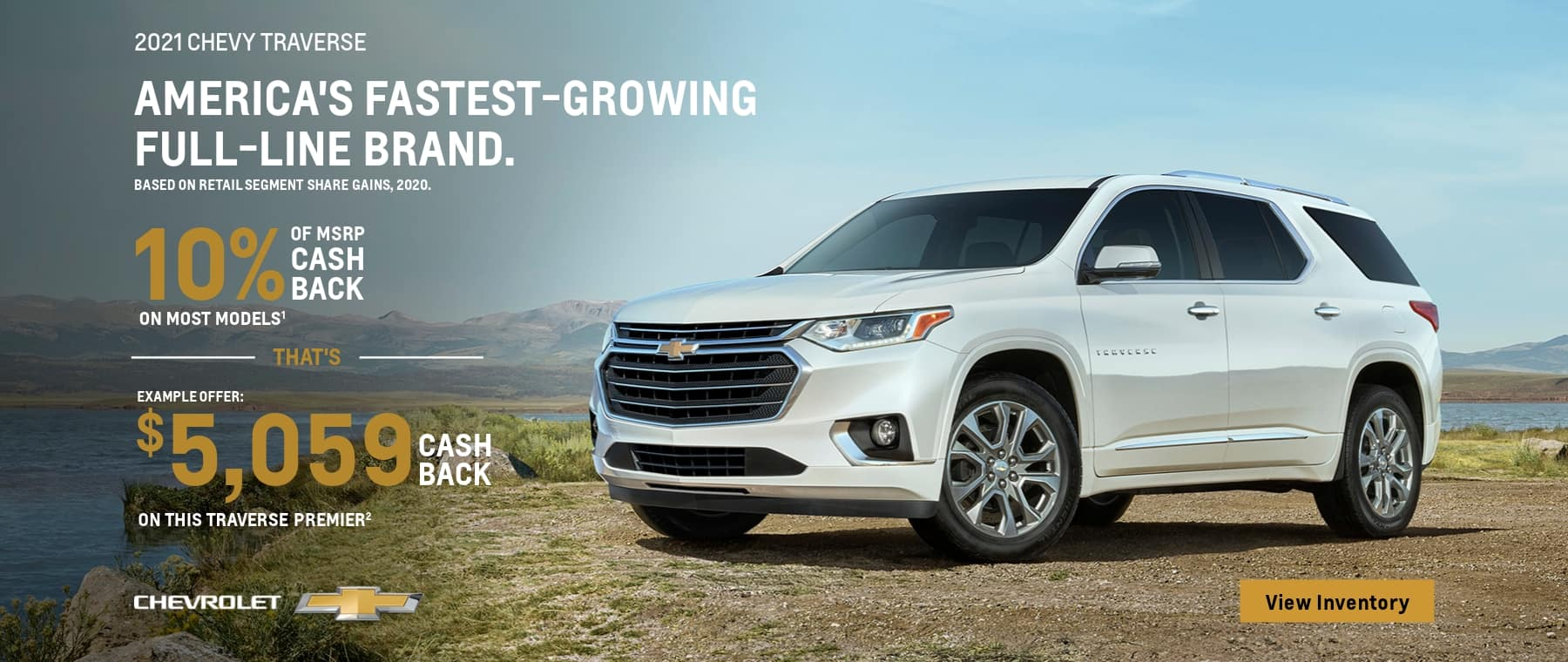 2021 chevy traverse example offer: of msrp cash that's $5,059 cash back chevrolet on most models on this traverse premier view inventory