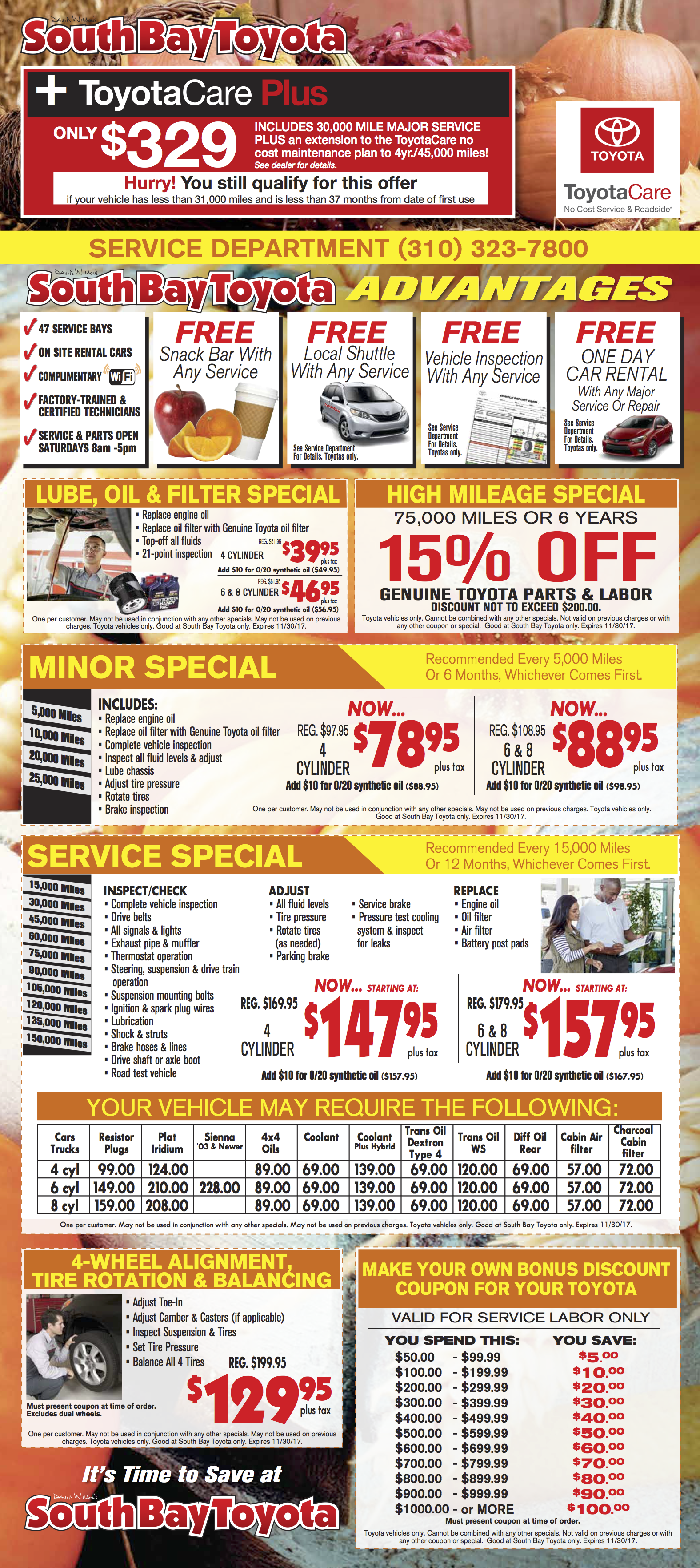Discount Toyota Parts >> Toyota Service Parts Specials Coupons Offers Gardena Ca