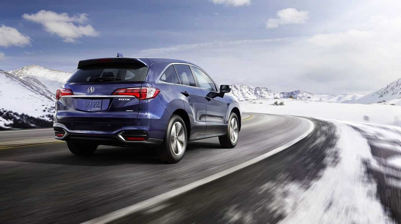 2018 Acura RDX driving on a snow road