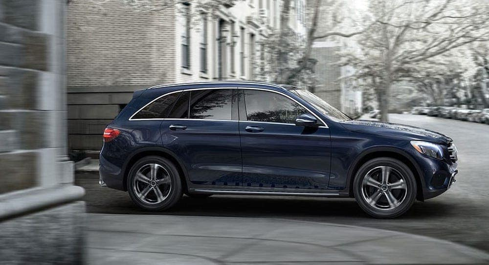 2019 Mercedes-Benz GLC in Blue Making a turn