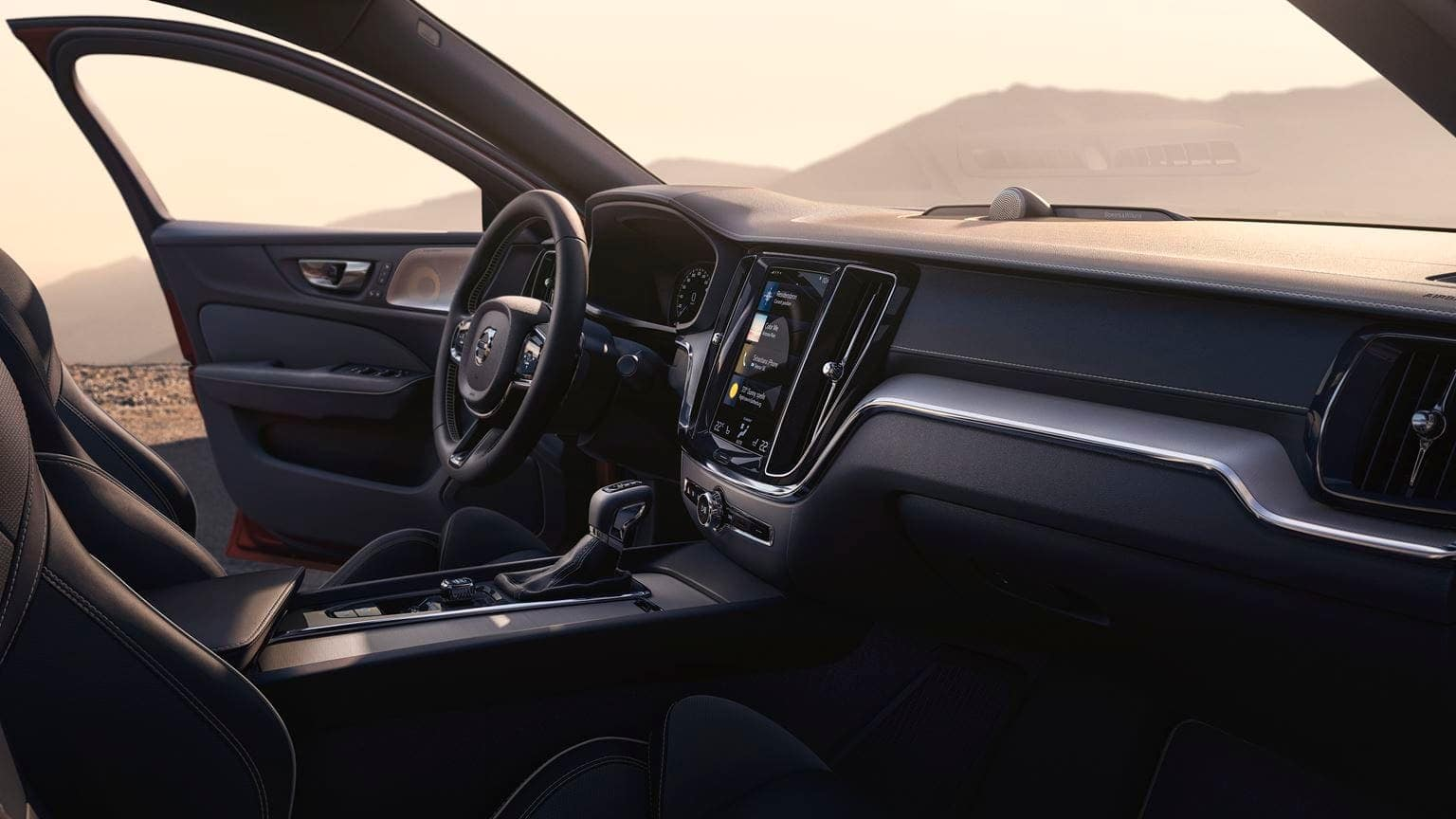 2019 Volvo S60 interior in black leather