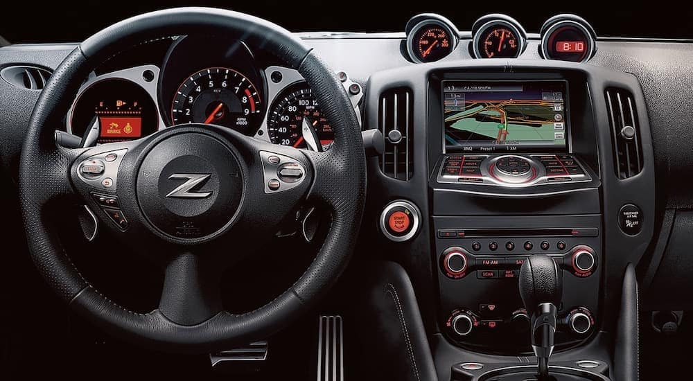 The black interior is shown on a 2020 Nissan 370z.