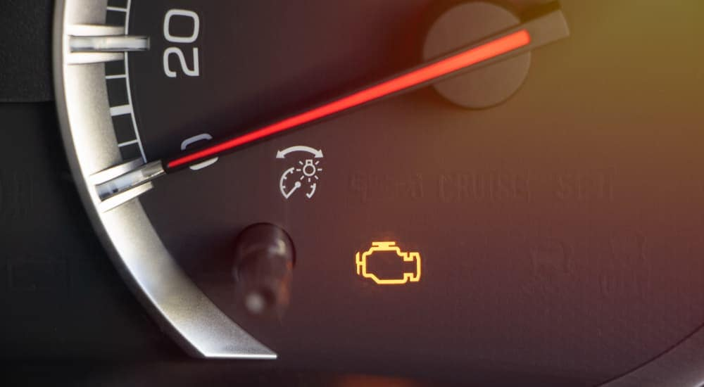 The chack engine light in a vehicle is lit.