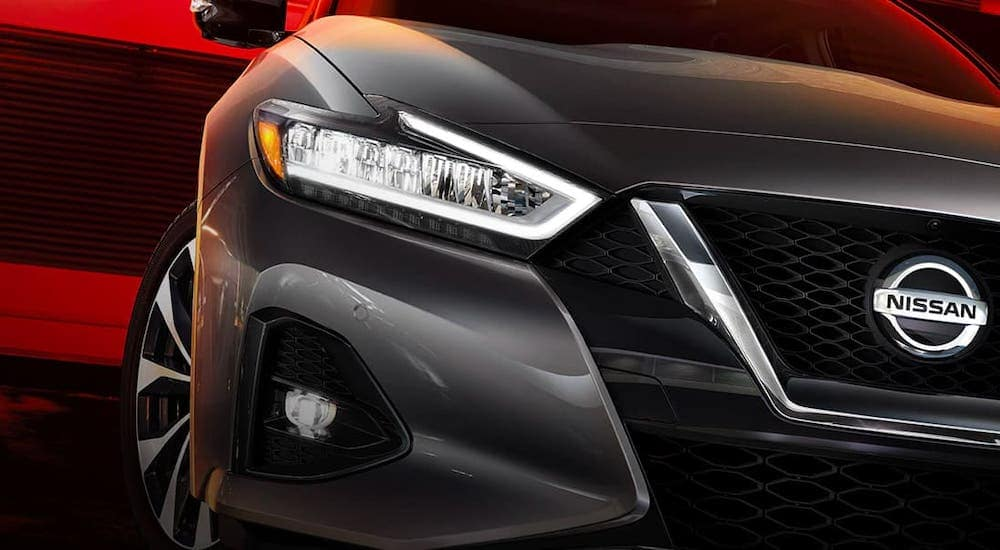 A closeup shows the headlight and grille of a gray 2021 Nissan Maxima in front of a red background.