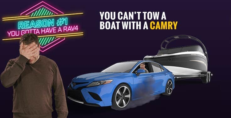 Humorous photo shows Danny, Manager, trying to tow a $3,000 lb boat with a Toyota Camry. Caption reads: You can't tow a boat with a Corolla