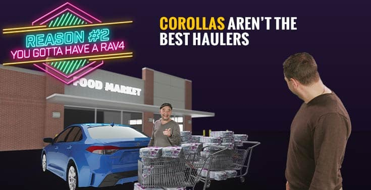 Comedic photo shows Dave, President, embarassed as Danny, Manager tries to load three carriages of toilet paper into a Toyota Corolla. Caption reads: Corollas don't make great haulers