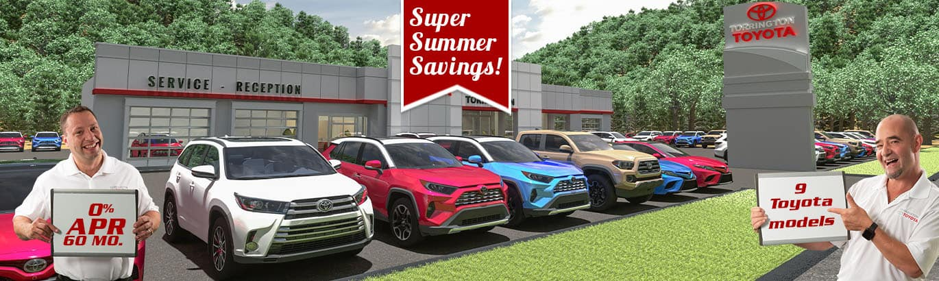 Dave and Danny of Torrington Toyota hold signs that show 0% APR offer on 9 different Toyota models.