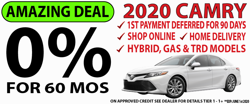 Qualified buyers can finance a new 2020 Camry at 0% APR for 60 Months.