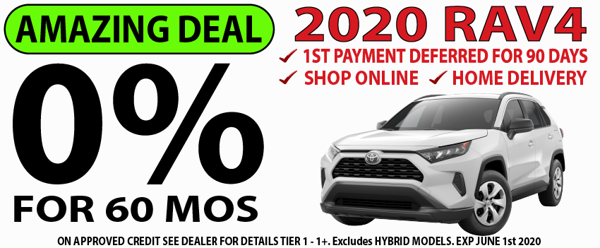 Qualified buyers can finance a new 2020 RAV4 at 0% APR for 60 Months.