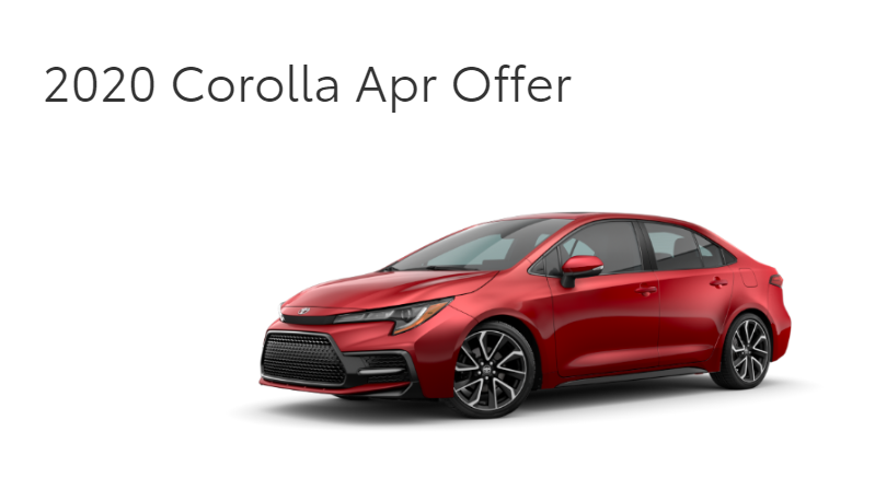 Lease a New 2020 Corolla for as low as $167 /month + tax for 36 months
