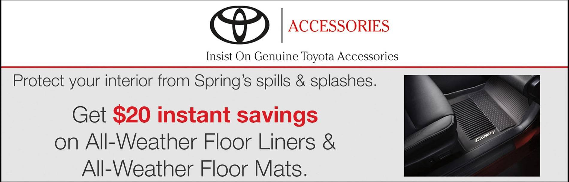 Save $20 instant savings on All Weather Floor liners and Floor Mats