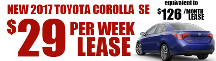 2017 Corolla $29/week or $126/month