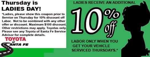 Ladies Day Thursday 10% off with disclaimer