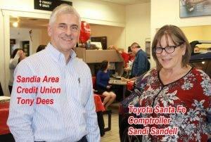 Joe Dees with Sandia Area Credit Union and Toyota of Santa Fe Comptroller Sandi
