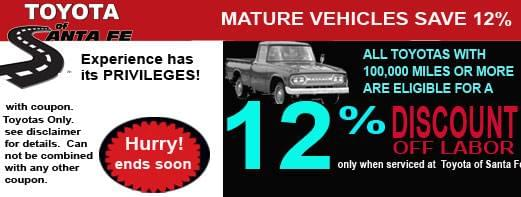 Save 12% on mature vehicles
