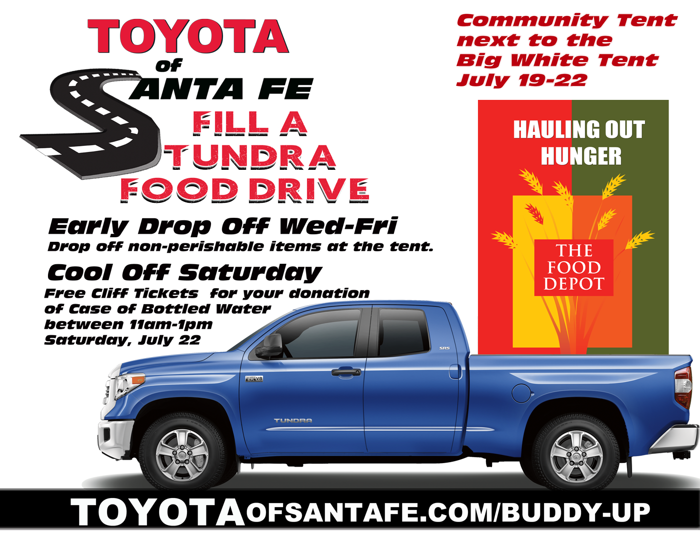 Get Cliff Tickets for Donating a Case of Bottled Water on Saturday July 22 during Fill A Tundra Food Drive