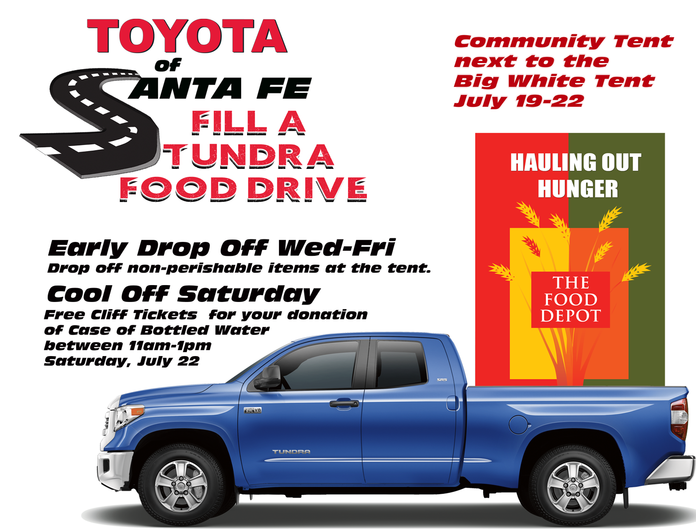 Fill A Tundra Food Drive July 19-22 at Parking Lots of Santa Fe Place Mall