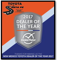 Toyota of Santa Fe 2017 Dealer of The Year for New Mexico