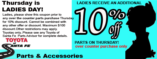 Ladies Day Parts 10% off
