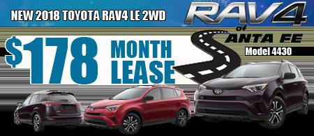 New 2018 Rav4  starting at  $178/month