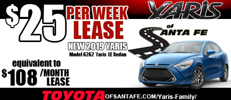 New 2019 Yaris Sedan LE starting at  $25/week