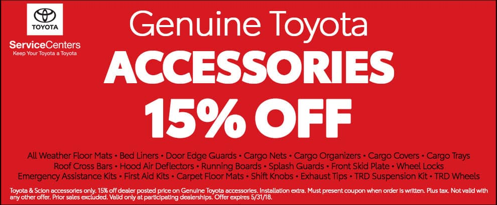 Genuine Toyota Accessories 15% Off